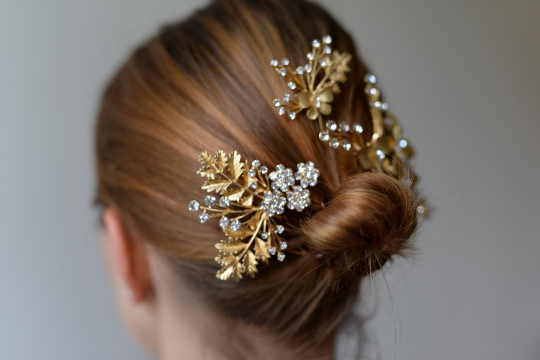 Haarschmuck Gold Brautschmuck Blätter Und Blüten Mit Strass Steinen Verziert